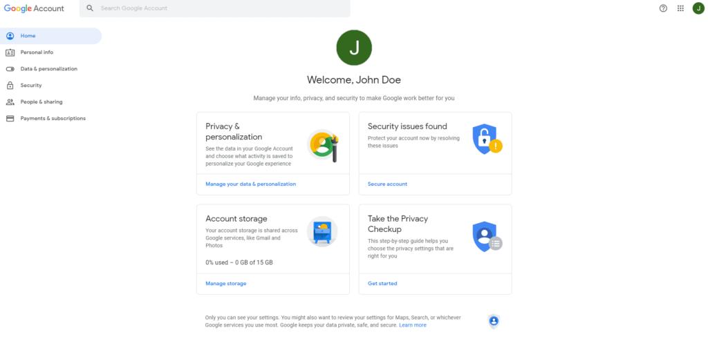 Google account home