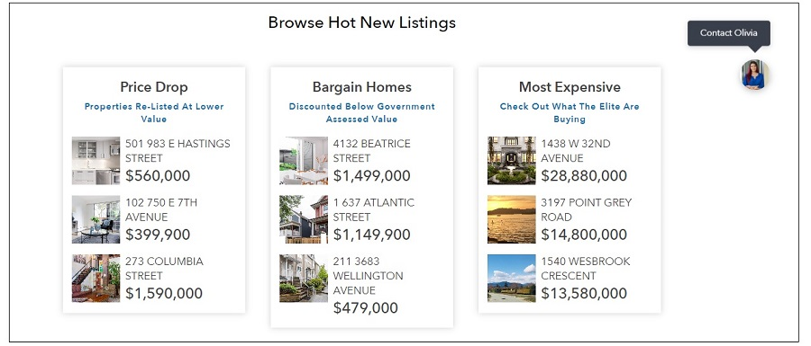 Hot New Listings Landing Page