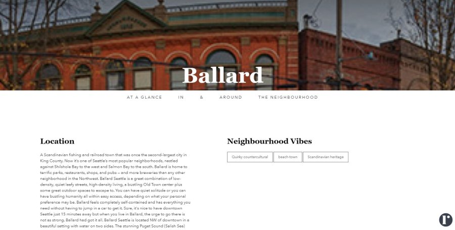 Neighborhood landing page