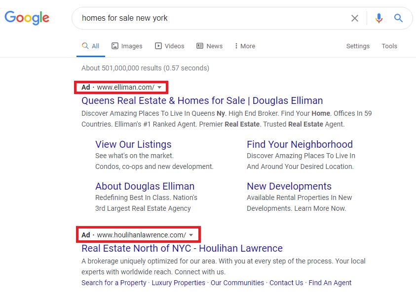 Google Search Ads - home fore sale
